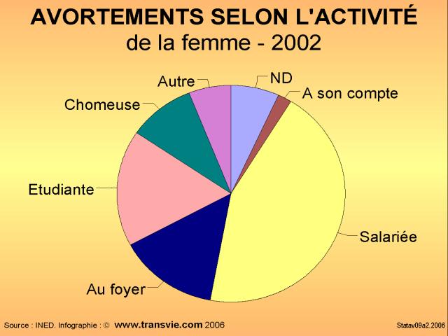 Répartition des avortements selon l'activité de la femme - 2002